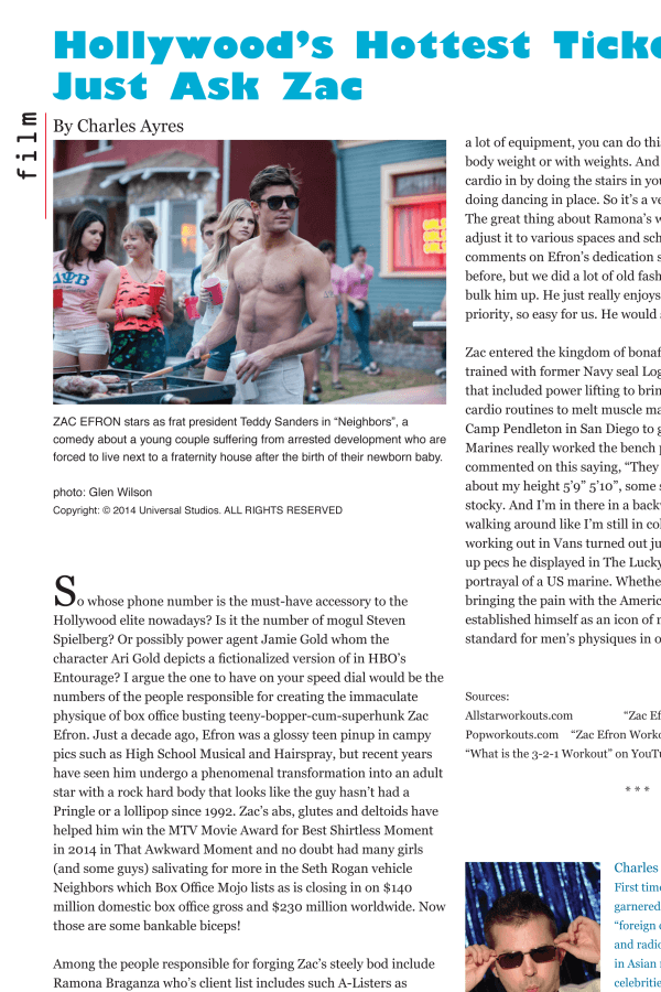 Zac Efron article from